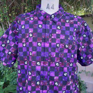 NWT Spencers Purple Alien Check Button Down XL